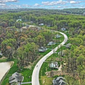Photo of an aerial view of the Bishop Woods community.