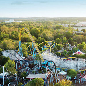 Photo of an aerial view of roller coasters at Hershey Park.